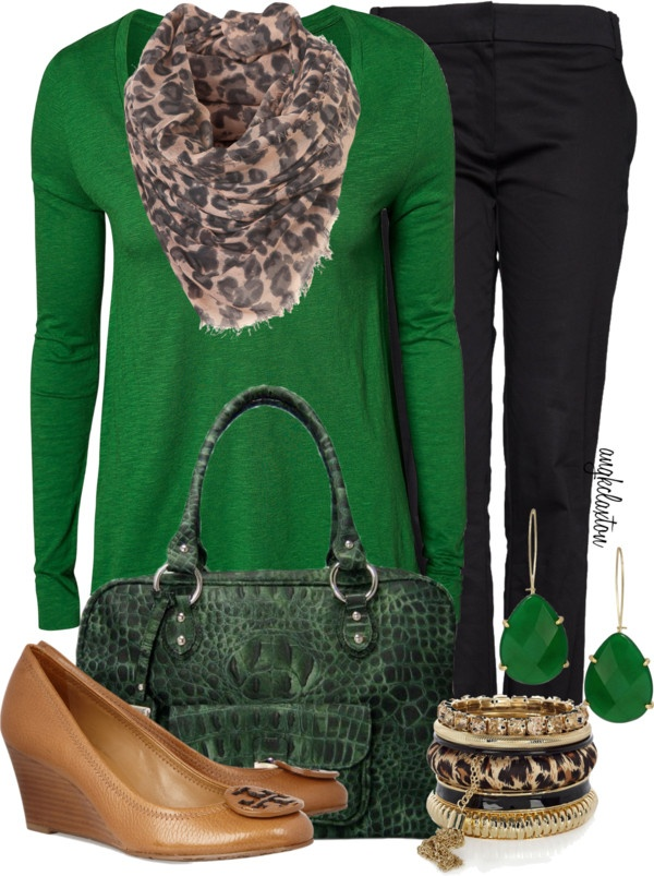 green and leapard!!!!: Fashion Beautiful, Work Clothing, Schools Day, Style Beautiful, Clothing Shoes Accessories, Clothing Accessories, Clothing Fal, Outfits Clothing, Fall Fashionista