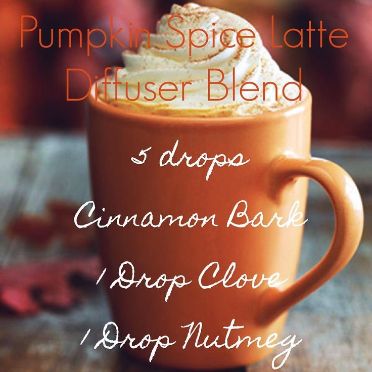Pumpkin Spice Latte Diffuser Blend using Essential Oils! 5 drops Cinnamon Bark, 1 Drop Clove, 1 Drop Nutmeg. Smells soooo good!! Just like a warm coffee shop :)  Young Living Distributor #3886132 Honest Essentials Blog. Mommy Blogger, Mom of 3 Kids 3 and Under. Young Living Essential Oils