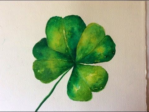 How to paint an Irish Four-Leaf Clover tutorial with Watercolor, for beg...