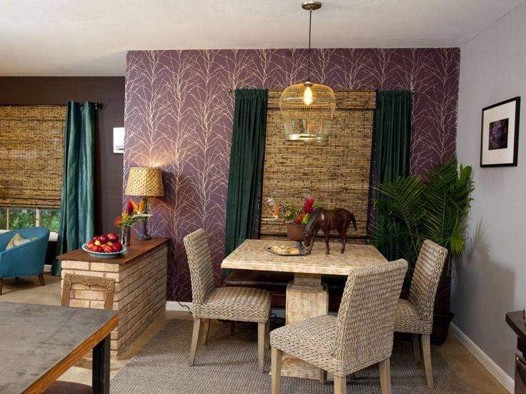 Dining Area After Plum Colored Wallpaper And Neutral
