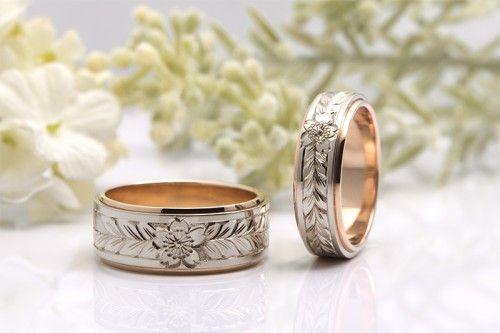 結婚指輪|桜4種No.2。人気の桜手彫りリングのご紹介。詳しくは、館林工房スタッフブログ「結婚指輪「桜4種」の違い。」でご紹介しています。
