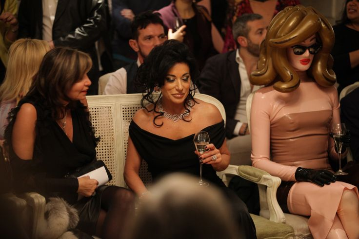 Socialite Nancy Dell'olio and conceptual artist and international Vogue favourite Pandemonia, AW2013 catwalk