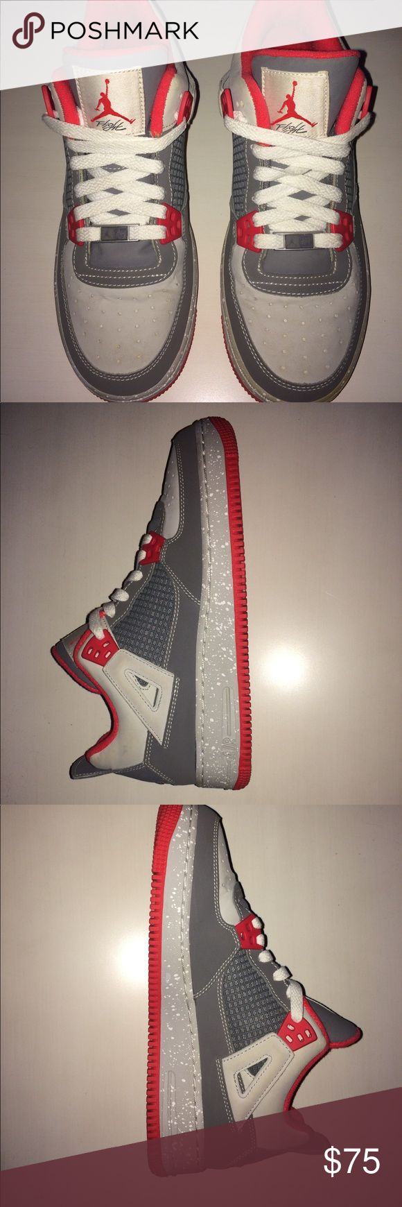 Nike Jordan's flight shoes The are a red and silver color, the size is 6.5 men's youth but will fit a women's size 8. The shoe can also fit a slightly wider foot as well. Only worn a few times (3). There is a small defect (came out of factory this way) the half of the bottom brim on the shoe (shown in last picture) faded into gold instead of silver. It is just on the one shoe. Nike Shoes Sneakers