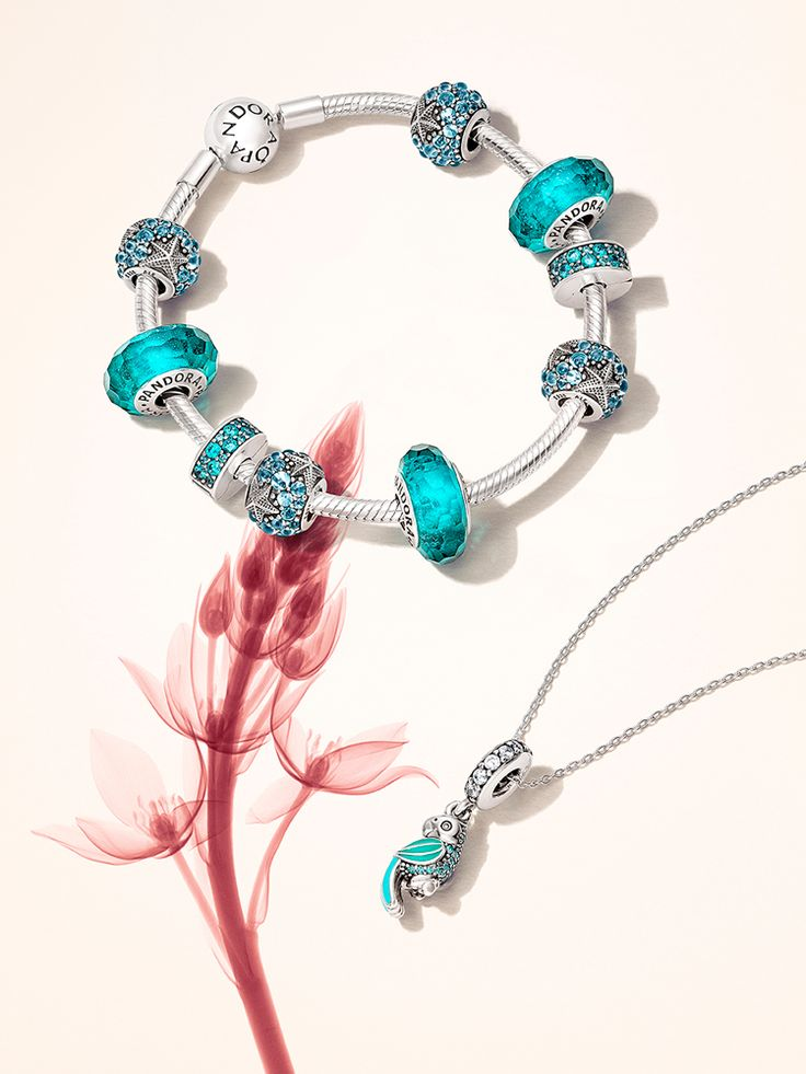 Add teal and turquoise details to your bracelet for a fresh summer look #PANDORAbracelet #SummerCollection16