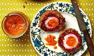 Thomasina Miers' smoky beetroot scotch egg with piquillo relish.
