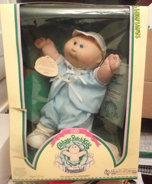 The exact Cabbage Patch Kids preemie I still have (though mine long ago came out of the box).
