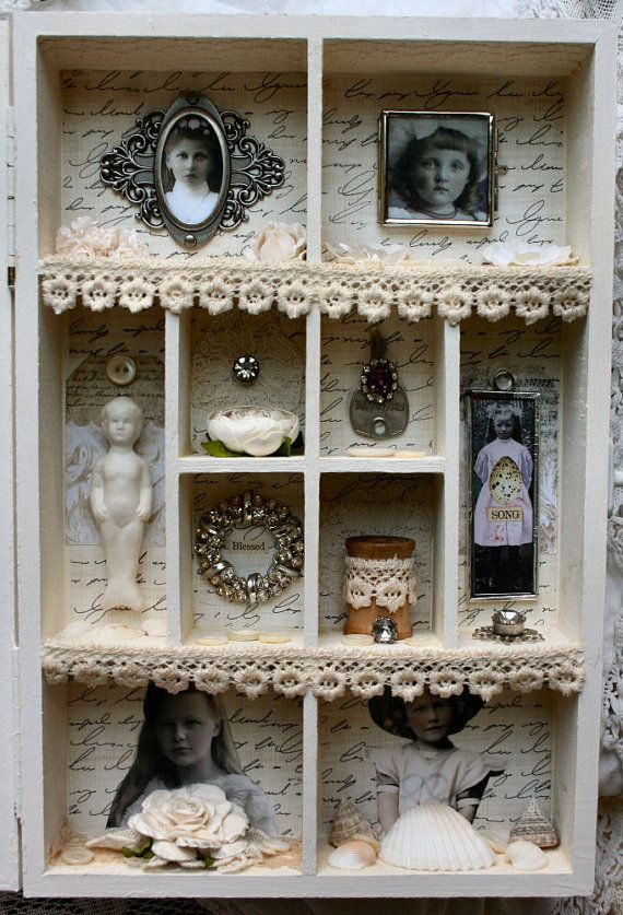 shadowbox collage frames in frames 3d art lace vintage antique old pictures
