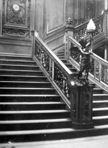 The Grand Staircase of the Titanic. Photo taken by Father Frank Brown prior to leaving the ship at her last port of call before leaving Cobh, County Cork, Ireland.
