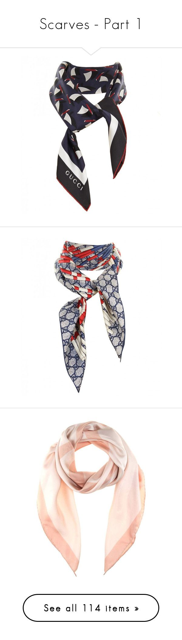 """Scarves - Part 1"" by l33l ❤ liked on Polyvore featuring accessories, scarves, white scarves, gucci, patterned scarves, navy blue scarves, navy shawl, gucci scarves, print scarves and silk twill scarves"