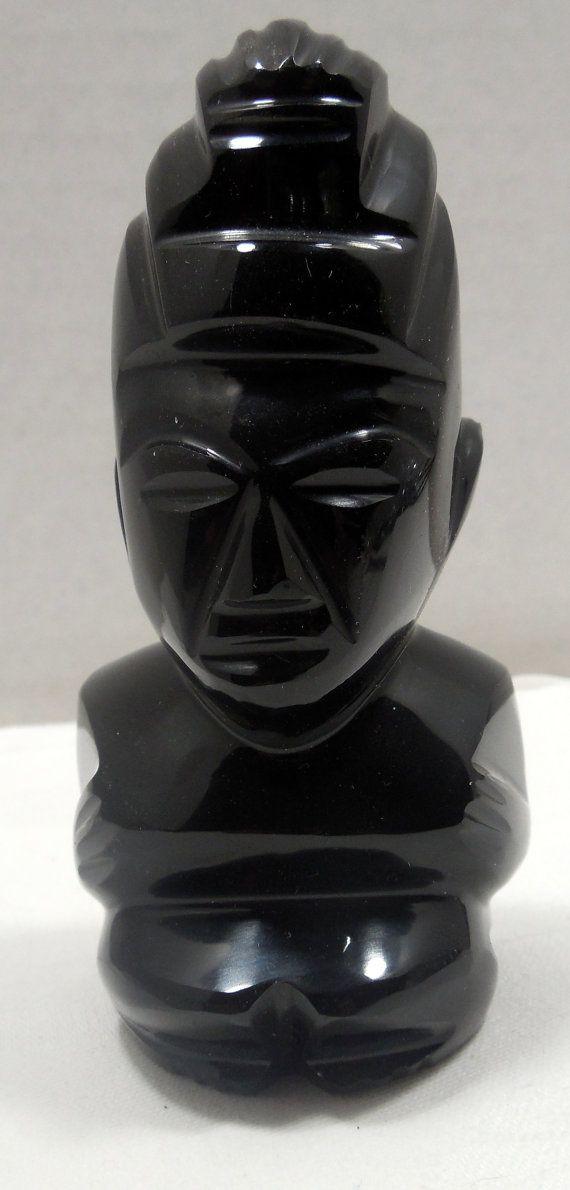 Black Onyx Aztec Statue Mayan God Statue Aztec Art by Beadgarden55