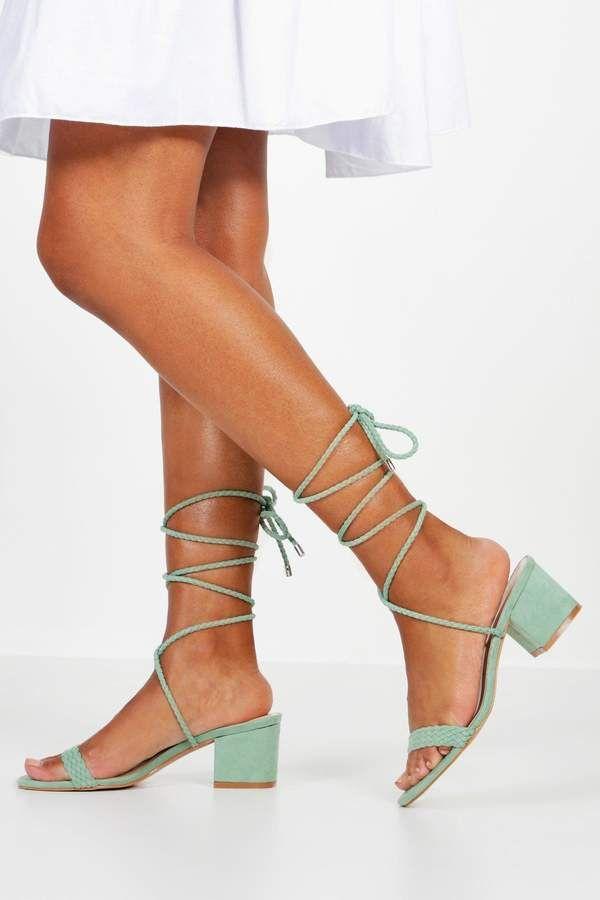 boohoo Block Heel Plait Strap Sandals