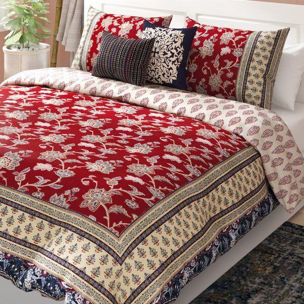 Azad Cotton 5 Piece Reversible Comforter Set Comforter Sets Comforters Red Bedroom Design
