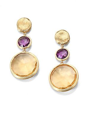 Marco Bicego Amethyst, Citrine & 18K Yellow Gold Drop Earrings
