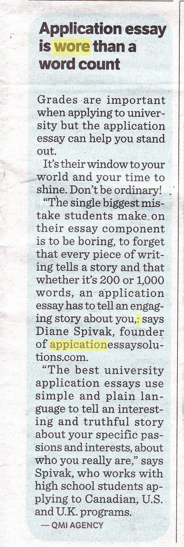 This is an advertorial for a company that helps student write impressive university application essays. Unfortunately, because of the typo in the website, I don't think they'll get much traffic.