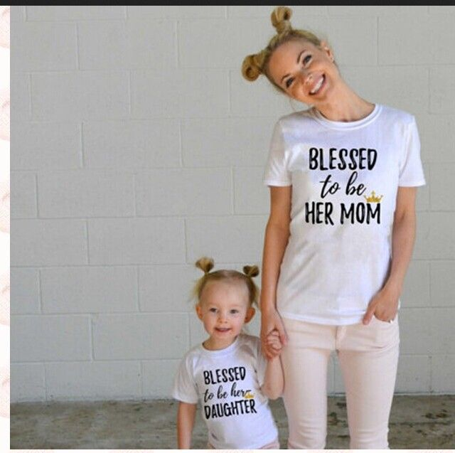 Ins Summer 2017 Blessed To Be Her Mom/daughter  Family Matching Mother Daughter Clothes Outfits Pajamas Top -tshirt Photo Prop