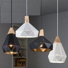 Estilo Loft Ferro Madeira Diamantes Droplight Moderno Vento Industrial Luminárias Pingente Pendurado Iluminação Da Lâmpada da Sala de Jantar LEVOU