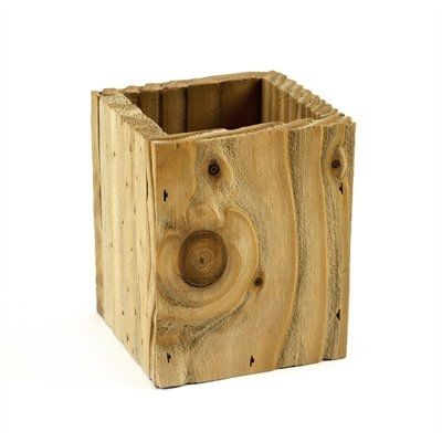 """Create a Zen office space with this earthy Pencil Cup. Sandblasted to highlight the natural grain of the wood and lend a worn comfortable look, this piece will slip easily into any work environment. 4"""" x 3.4"""" x 3.4""""."""