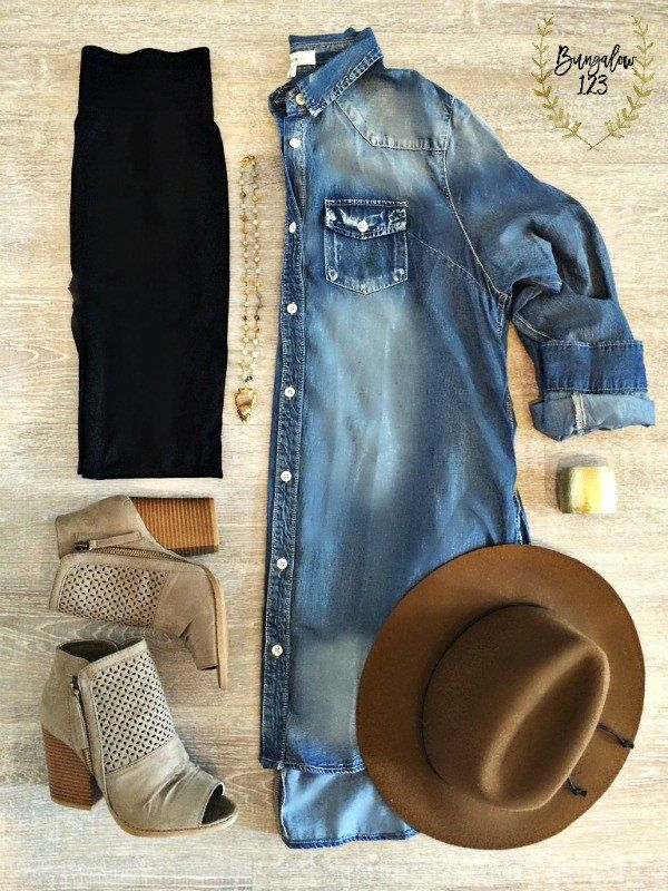 Timeless denim tunic. Button-up front with high-low hemline. Two front chest pockets as well as two side pockets. Shown with the B123 Seamless Leggings in Black, Barkley Booties, and Jasper Arrowhead