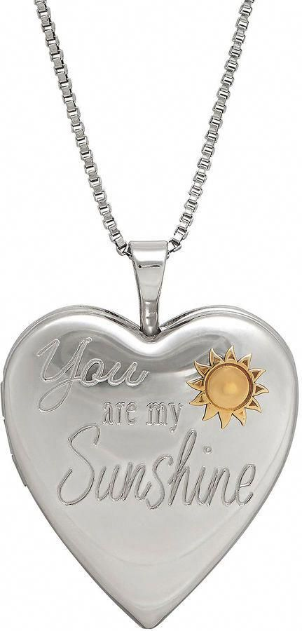 3e3d306a0b024d FINE JEWELRY Sterling Silver You Are My Sunshine Heart Locket Pendant  Necklace #TurquoiseAndSilverNecklace