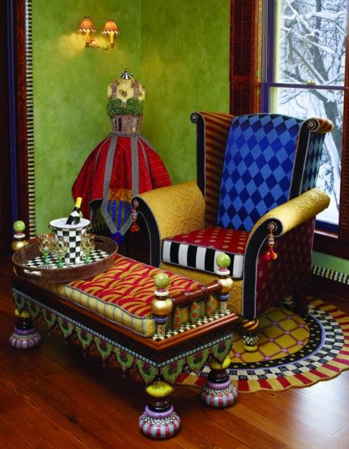Colorful and whimsical - MacKensie-Childs  http://thedecorativepaintbrush.blogspot.com/2011/01/mackenzie-childs-chair-o-ver-years.html#