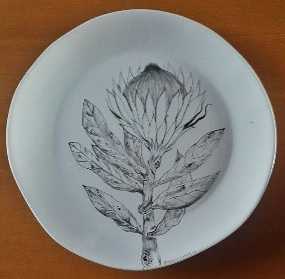 Large ceramic platter with painted protea #protea #southafrica #fynbos