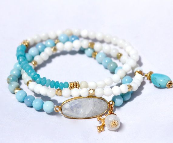 Ite Stretch Bracelet W Moonstone Connector Stack Bohemian Aqua