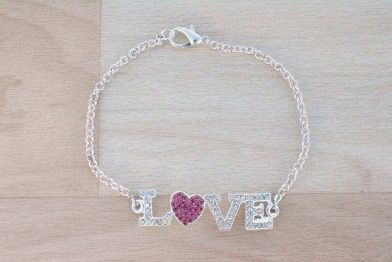 Silver Love Bracelet  Rhinestone Bracelet  Gold by SkadiJewelry