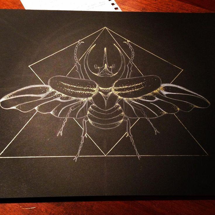 Beetle • matita bianca e penna gel oro Follow my page on Facebook https://www.facebook.com/elenapasiniartworks  #2k15 #2015 #symmetry #geometry #handmade #art #artwork #artist #love #passion #design #beetle #bug #gold #tumblr #follow #blackandwhite #draw #drawing #white #summer #indie #grunge #hipster