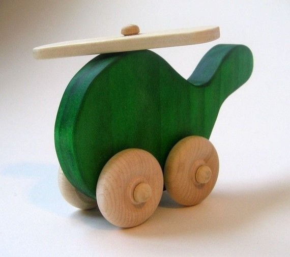Wood Toy  Helicopter Green Waldorf Imagination by Imaginationkids, $7.00