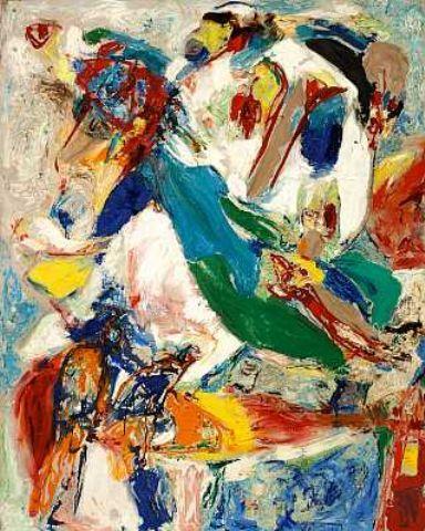 Asger Jorn (1914-1973) maakte in de Cobraperiode enkele schilderijen met zware vormen en donkere kleuren. Onder de indruk van het dreigende gevaar dat de Koude Oorlog in een nucleair conflict zou kunnen ontaarden, schilderde hij een serie oorlogsvisioenen. Met agressieve dieren gaf hij zijn vrees symbolisch weer