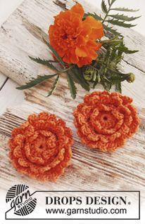 "Marigold - Crochet DROPS tagetes flowers in ""Safran"". - Free pattern by DROPS Design"