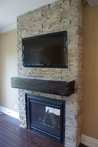 Stone Fireplace Chunky Wood Mantel Tv Mount Above