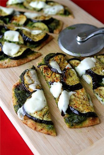 Vegetarian Naan Pizza with Eggplant & Cilantro Jalapeno Pesto Recipe. For those days you don't want to make homemade dough