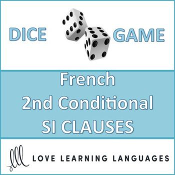 This is an easy to play 30 minute dice game to practice French 2nd conditional SI CLAUSES using the CONDITIONAL. This game provides SI CLAUSE PROMPTS that must be completed using the conditional tense. My high school students love this game, and it can get very competitive if you decide to play it as a race (details are explained with the activity). Students divide up into teams and play a dice game, the dice determining which SI CLAUSE PROMPT to use with an infinitive to be...