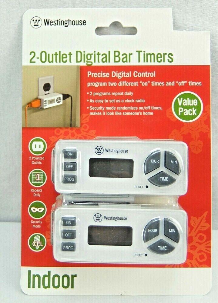Westinghouse 2 Indoor Outlet Digital Bar Timers 24 Hour T26425