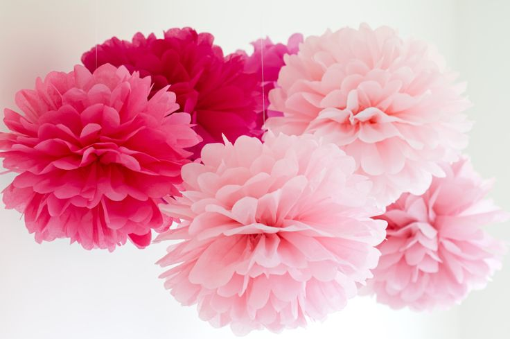 Pink pom pom baby shower decorations- green and yellow