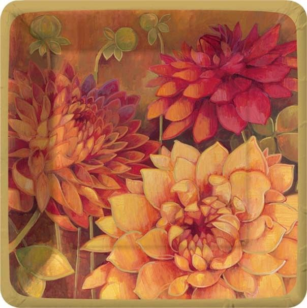 Dahlia Fall Dessert Plates & 54 best Fall / Thanksgiving Paper Plates and Paper Napkins images ...