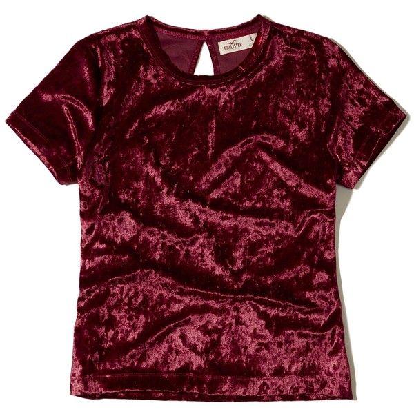Hollister Velvet Baby T-Shirt ($15) ❤ liked on Polyvore featuring tops, t-shirts, burgundy, velvet top, red tee, red top, red crop tee and burgundy crop top