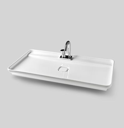 Naked System, design Meneghello Paolelli Associati. #TheArtceram. Naked countertop washbasin + whitewash oak wood frame countertop washbasin 90 x 50