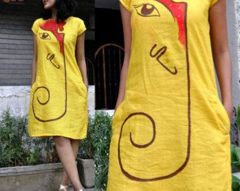 orange white womens handpainted and embroidred by HasthaKatha