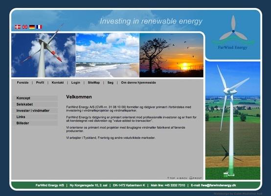 Hjemmeside udført for Farwind Energi.