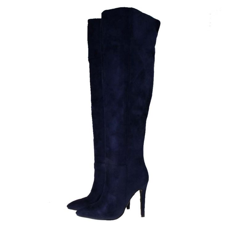Blue Suede Over The Knee Boots - Boot Hto