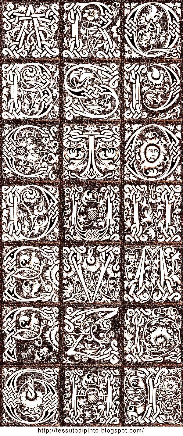 Albero Genealogico ginkgo incorniciato da alfabeto gotico