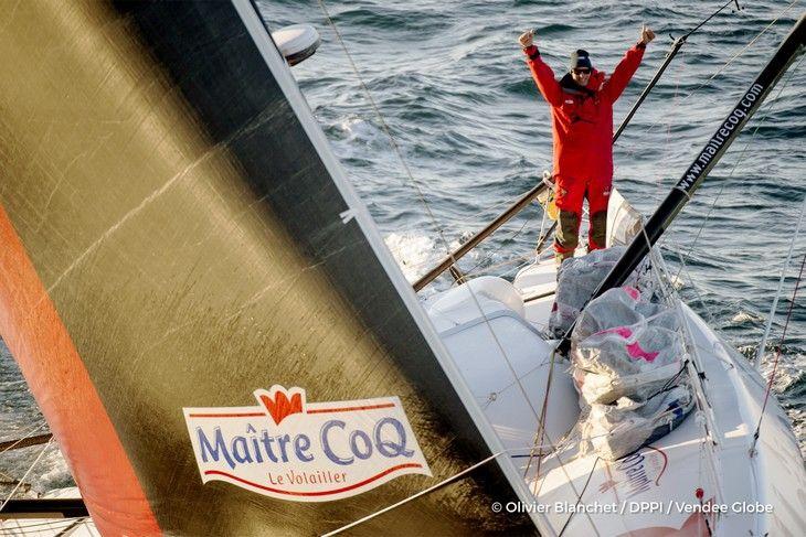 Jeremie Beyou sur la 3e place du podium du Vendée Globe