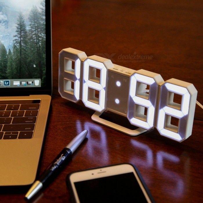 3d Led Digital Alarm Clock Modern Wall Desk Table Clock W Snooze