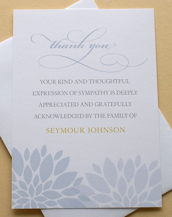 The flowers create a charming feature on this Sympathy Thank You card. The flowers come in blue or purple.