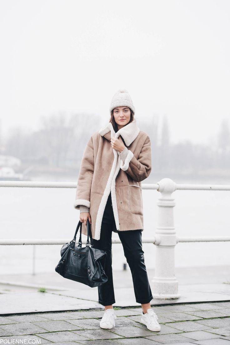 POLIENNE   wearing a shearling Esprit coat, leather boyfriend pants & Balenciaga bag
