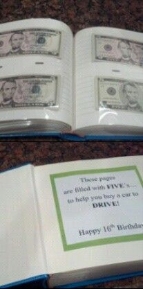 Money Gift Book - Sweet 16th Birthday- Car Fund (photo album filled with 5's)