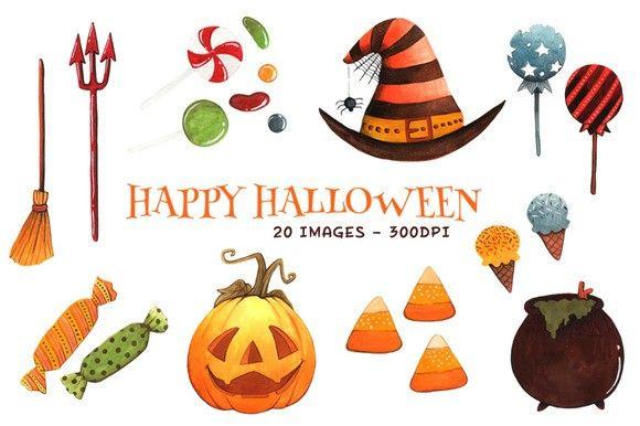 Watercolor Halloween Clipart Items. Scrapbooking. $15.00