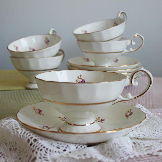 5 Vintage tea cup and saucers Royal Sutherland HM Fine bone